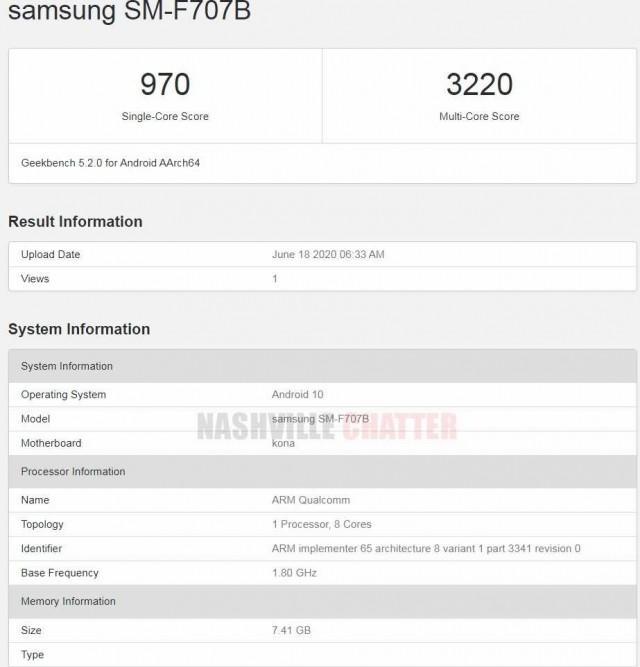 三星Galaxy Z Flip 5G与Snapdragon 865一起出现在Geekbench上